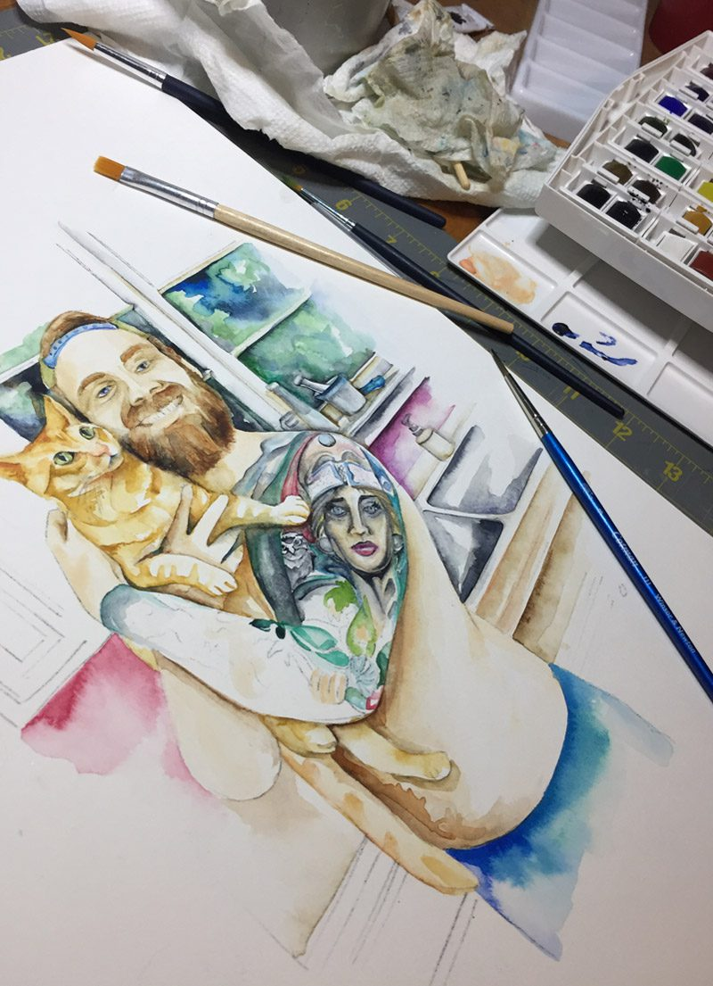 K & C watercolor in progress by Shannon