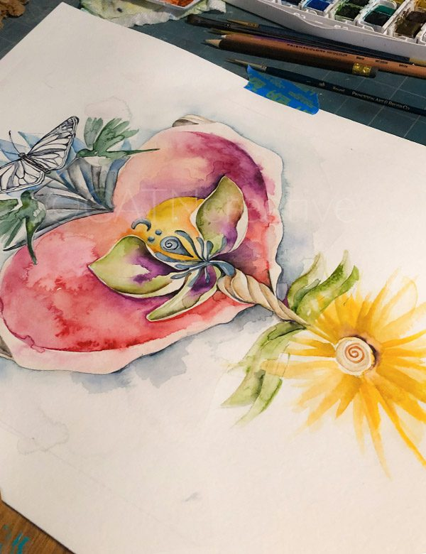 """""""Sacred Heart"""" study watercolor by Shannon"""